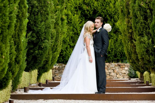 A couple on their wedding day on the Tuscan Walk, Villa Parma, Hepburn Springs