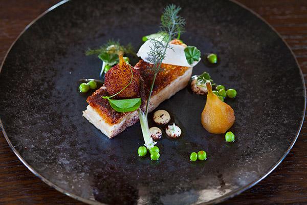 Prok Belly dish at the Argus Dining Room Restaurant Hepburn Springs